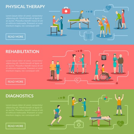 physiotherapist: Physiotherapy horizontal banners set of diagnostics and rehabilitation center with medical staff patient and equipment flat vector illustration