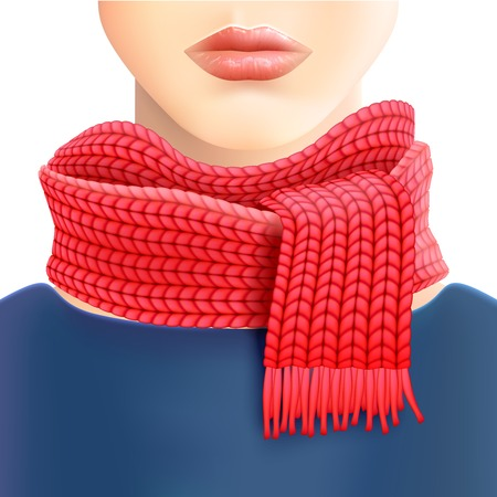 displays: Woman fashionable knitted red scarf  for store window displays and casual wear winter accessories catalogs vector illustration Illustration
