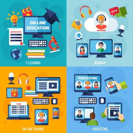 podcasting: Podcasting and webinar design concept set with e-learning flat icons isolated vector illustration Illustration