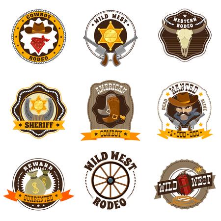 Cowboy Cartoon Etiketten mit Wild-West-und Rodeo-Symbole Vektor-Illustration isoliert Standard-Bild - 51141627