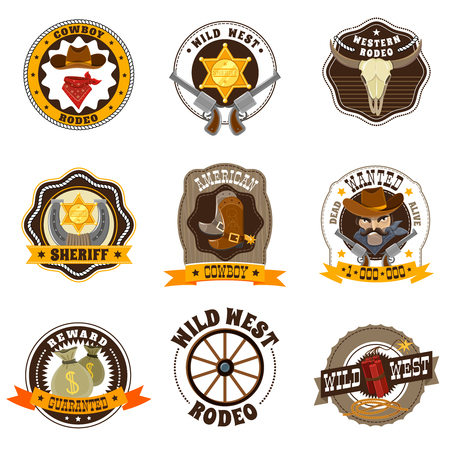west: Cowboy cartoon labels set with Wild West and rodeo symbols isolated vector illustration Illustration