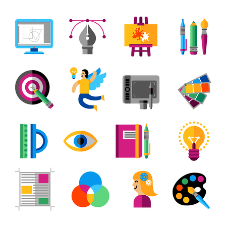 vector illustration: Creative designer icons set with idea and painting symbols flat isolated vector illustration