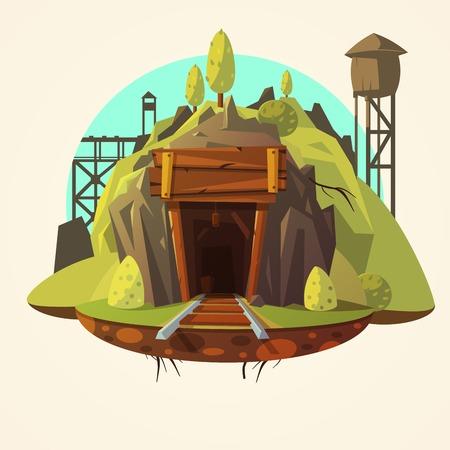 tunel: concepto de la minería con la entrada de la mina de madera retro con la ilustración vectorial de dibujos animados de trenes