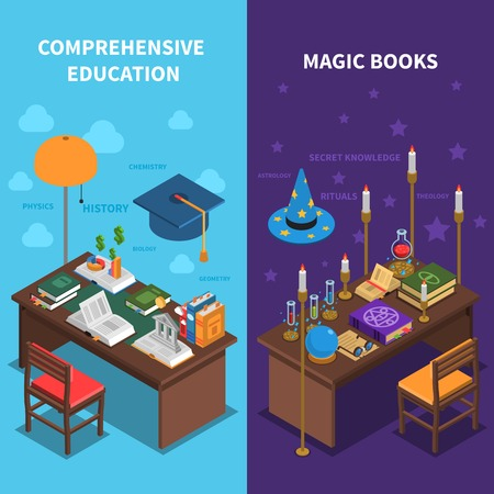 books isolated: Books and education vertical isometric banners set with magic books symbols isolated vector illustration Illustration