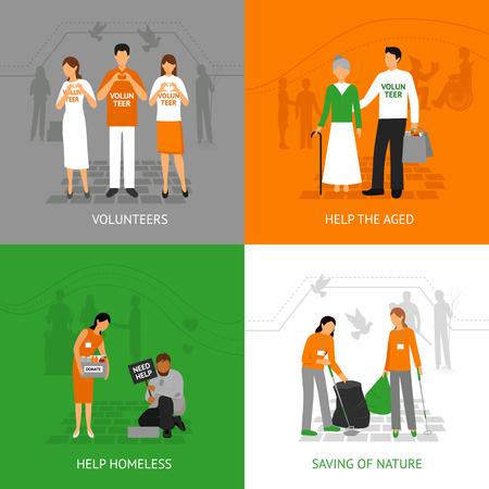 Freiwillige Design-Konzept Set mit Menschen zu helfen, obdachlose und seniours isolierten Vektor-Illustration