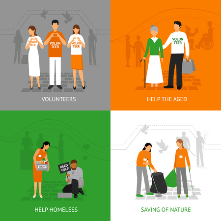 aid: Volunteers design concept set with people helping homeless and seniours isolated vector illustration Illustration
