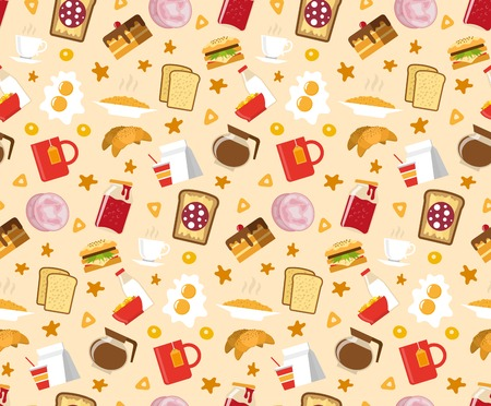 homemade cake: Breakfast seamless pattern with sandwiches cake and coffee flat vector illustration Illustration