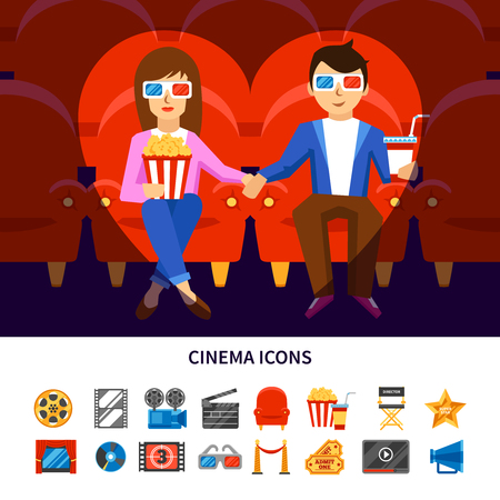 couple date: Cinema infographic set with a couple on a date and movie production symbols flat vector illustration