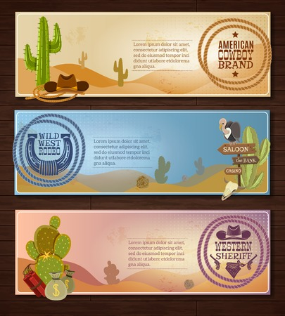 cartoon bank: Cowboy cartoon horizontal banners set with desert rodeo and sheriff symbols on wooden background isolated vector illustration