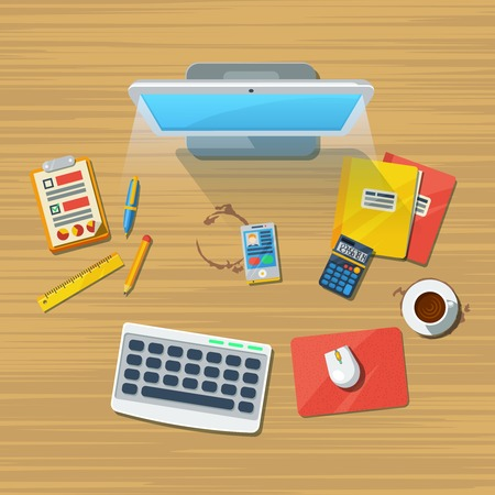 assistant: Office clerical assistant workplace top view flat icon with desktop calculator and accessories wooden texture background vector illustration