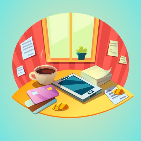 articulos de oficina: concepto de lugar de trabajo de negocios con la tableta y artículos de oficina en estilo de ilustración vectorial de dibujos animados retro