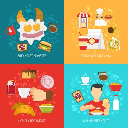 Breakfast concept icons set with champ and takeaway breakfast symbols flat isolated vector illustration