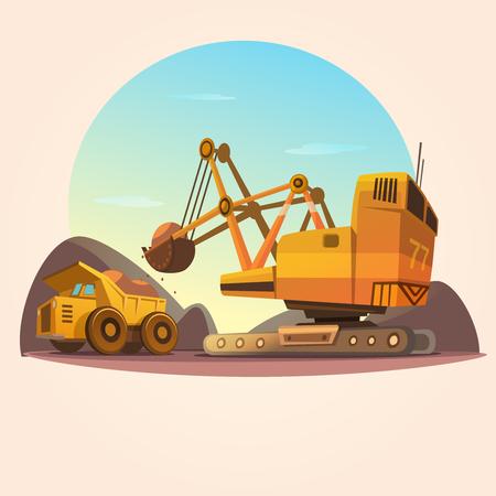 Mijnbouw concept met zware industrie machines en steenkool truck retro cartoon stijl vector illustratie