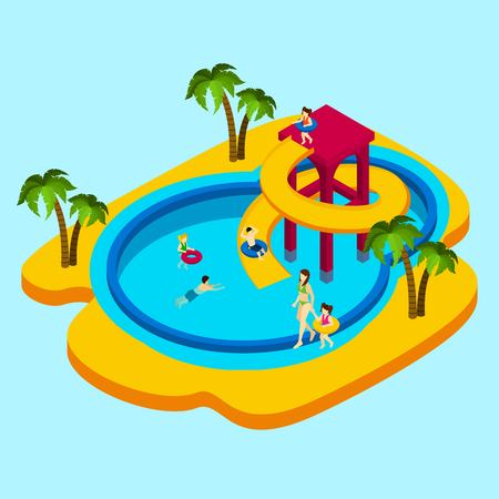 ni�os nadando: parque acu�tico con ni�os y padres sobre fondo azul ilustraci�n isom�trica del vector Vectores