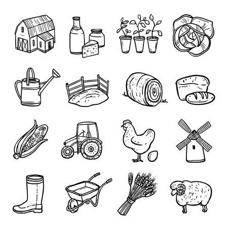 granary: Agriculture black white icons set with tractor hen and bread symbols flat isolated vector illustration Illustration