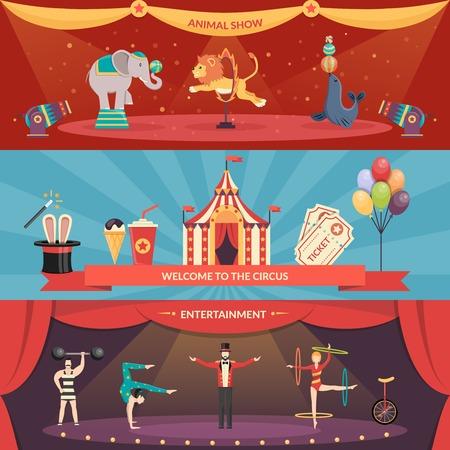 lineas horizontales: Bienvenido al entretenimiento de circo banners horizontales planas conjunto de animales muestran y rendimiento con acróbatas y la ilustración vectorial mago
