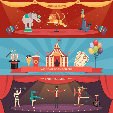 Welcome to circus entertainment flat horizontal banners set of animals show and performance with acrobats and magician vector illustration