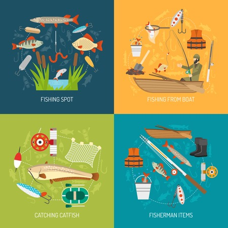 catching: Fishing concept icons set with fishing from boat and catching catfish symbols flat isolated vector illustration Illustration