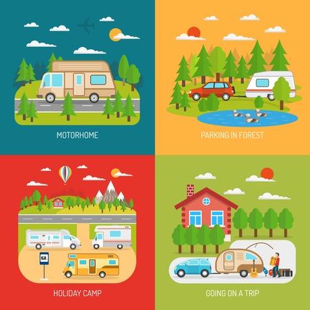 concetto Camper Set di icone con l'andare su un viaggio e di un parcheggio in simboli forestali piatto isolato illustrazione di vettore
