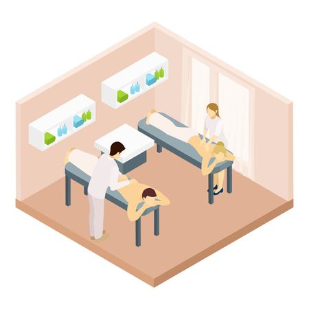 specialists: Massage room with equipment couple and massage specialists isometric vector illustration Illustration