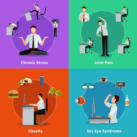 sedentary: Office syndrome 2x2 flat design concept set of diseases as results of sedentary work vector illustration