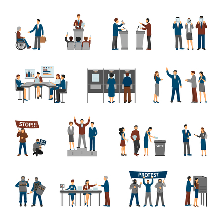 Political and election set with politians and volunteers set isolated vector illustration Illustration