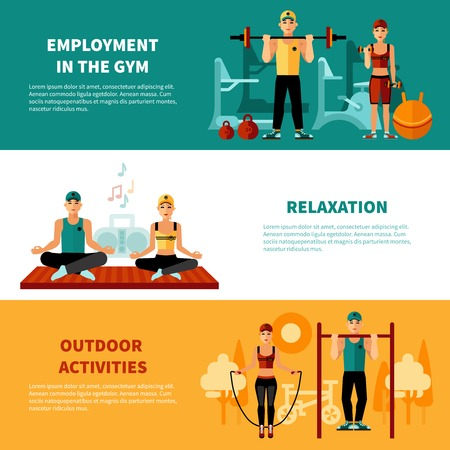 benchpress: Fitness flat horizontal banners set with gym training relaxation exercises and outdoors activity compositions vector illustration