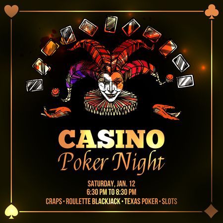 joker: Joker poster with casino and poker night advertisement flat vector illustration