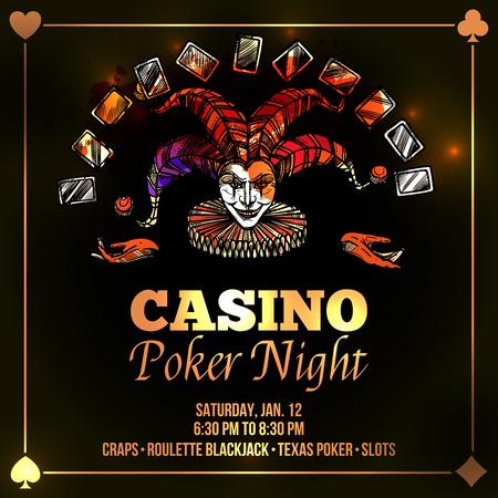 Joker poster with casino and poker night advertisement flat vector illustration