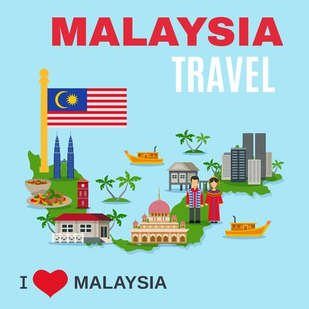 agencia de viajes mundial Malasia Gran turistas culturales atracción cartel con los símbolos nacionales y el mapa del país ilustración vectorial plana