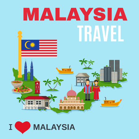 kuala: World travel agency malaysia top cultural tourists attraction poster with national symbols and country map flat vector illustration Illustration