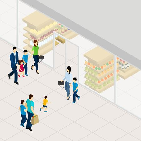 apples and oranges: Supermarket with food drinks and other goods isometric vector illustration