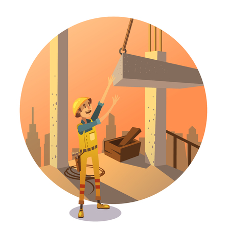 cartoon engineer: Construction concept with labor worker putting concrete bay on building retro stylr vector illustration
