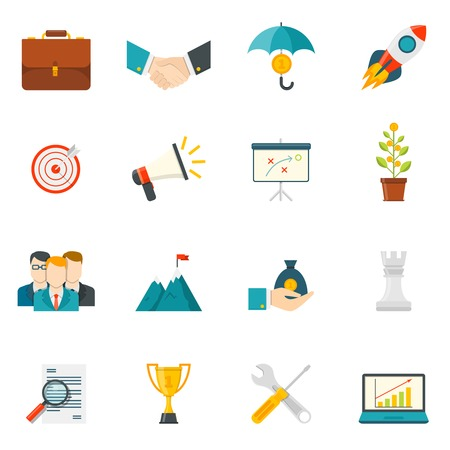 Entrepreneurship flat color icons set with business startup work in team leadership handshake elements isolated vector illustration Vetores