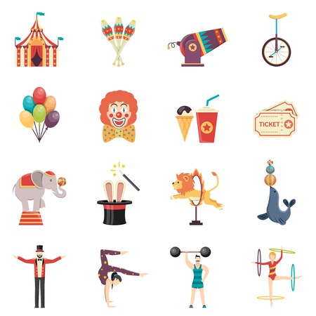 payasos caricatura: Los iconos de color plana de rendimiento de circo acr�bata establecen con globos payaso tienda de campa�a y animales entrenados aislados ilustraci�n vectorial