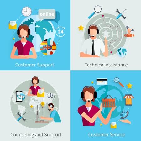 wordwide: Customer support international service 4 flat icons square composition with counseling and technical assistance isolated vector illustration