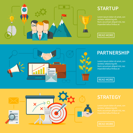 partnership: Entrepreneurship flat horizontal banners set of startup strategy and partnership vector illustration Illustration