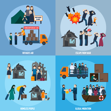 illegal immigrant: Stateless refugees design concept set with escape from war and illegal migration icons isolated vector illustration