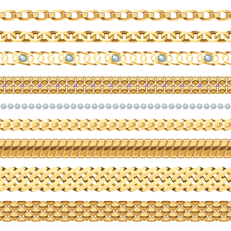 prestige: Jewelry chains realistic set with gold and pearl chains isolated vector illustration