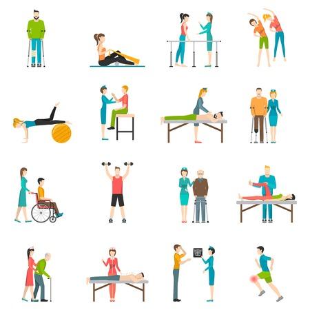 persona en silla de ruedas: rehabilitación de fisioterapia de color plana iconos con la enfermera médico y los pacientes que participan en ejercicios de masaje físico y la ilustración vectorial aislado quiropráctica Vectores