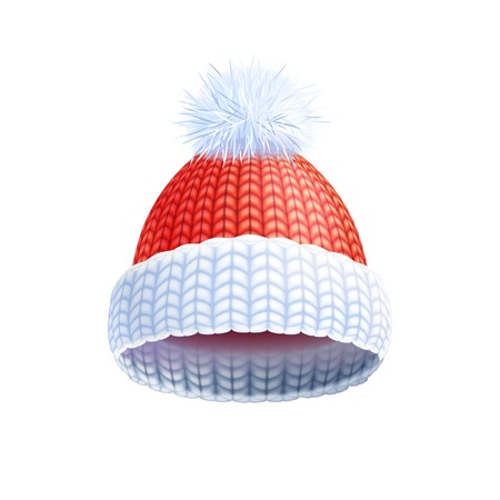 headwear: Modern knitted two colored beanie style hat with pompom for winter sport headwear flat print vector illustration