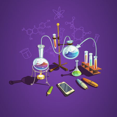 concepto de la ciencia química con laboratorio científico ilustración vectorial de dibujos animados elementos retro Ilustración de vector