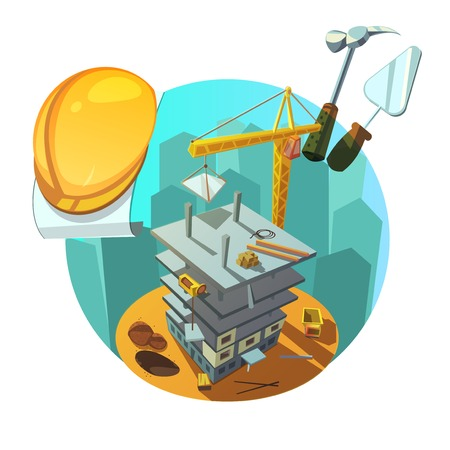 Construction concept with retro style working tools and machinery cartoon vector illustration