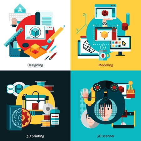 digital printing: 3d technology 2x2 flat concept set of designing modeling 3d printing and 3d scanning vector illustration