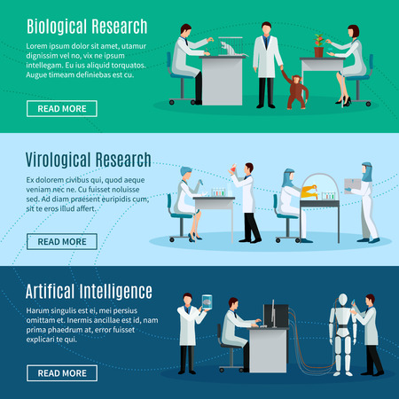 artificial: Science horizontal banners set with scientists making biological virological and artificial intelligence researchs  flat vector illustration