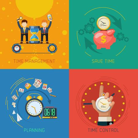 Effectieve time management planning en controle strategieën 4 vlakke pictogrammen vierkante samenstelling poster abstract geïsoleerde vector illustratie