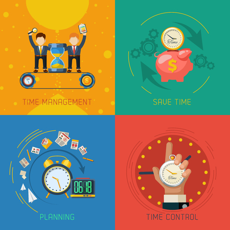 business plan: Effective time management planning and control strategies 4 flat icons square composition poster abstract isolated vector illustration