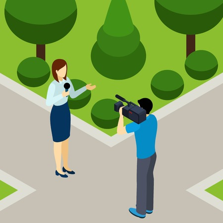 live work city: Journalist woman reporting live outdoor in the city park with professional operator isometric banner abstract vector illustration