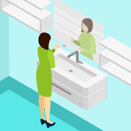 looking at mirror: Pregnancy positive test with woman looking in a mirror isometric vector illustration