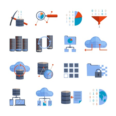 information  isolated: Data processing and information analytics flat color icons set isolated vector illustration
